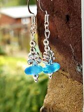 blue sea glass dangle earrings