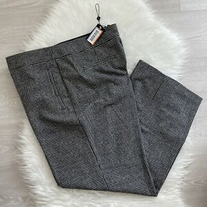 Next Emma Willis Dogtooth Trousers Size 18 R Black White Wide Leg RRP £40 NWT