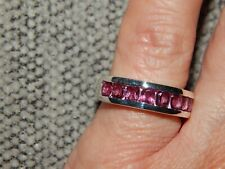 LOTUS GARNET HALF ETERNITY/STACKABLE RING-SIZE J-2.00CTS-STERLING SILVER 925