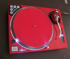 TWO Red Technics SL-1200 MK2 turntables w/recessed dicer, White LEDs & HALO