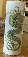 "Porcelain Vase, Dragon, Japanese Theme. By Dolly Constatini. 10.5""Cylinder"