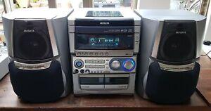 Aiwa NSX-SZ70 3 CD Changer, Tuner, Twin Cassette Decks~Powered Subwoofer Spkrs