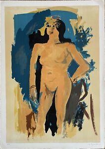 Ugo Capocchini litografia Nudino 1970 70x50 firmata numerata pubblicata Bisonte