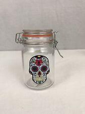 New STASH JAR Sugar Skull Glass Herb Stash Jar With Airtight Orange Flip Top Lid