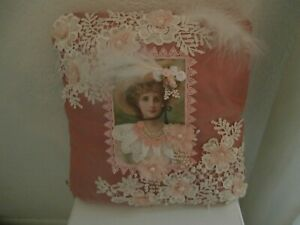 Shabby Chic Pillow - Embellished - Handmade