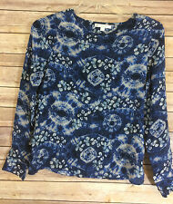 Piperlime - Blue Floral Indigo Tie Dye Shibori Pattern - Womens S - Sheer Blouse