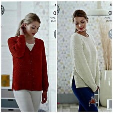 KNITTING PATTERN Ladies Long Sleeve V-Neck Moss Stitch Jacket Aran KingCole 4815