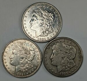 3 1921 PDS Morgan Silver Dollars 181202R