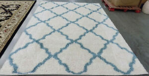 IVORY / LIGHT BLUE 8' X 10' Stained Rug Reduced Price 1172588537 SGD257J-8