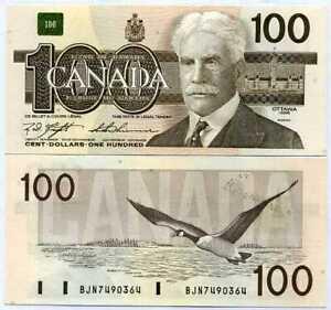 CANADA 100 DOLLARS 1988 P 99 AU-UNC