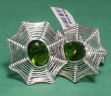 Marvelous Peridot Spider Web Stone 925 Sterling Silver Cufflinks Cuff -links