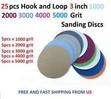 25pcs Hook and Loop 3 Inch 1000 2000 3000 4000 5000Grit Sand Paper Sanding Discs