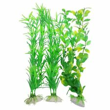 "3 pcs Aquarium Yellow Green Plastic Artificial Plants 13.8"" Height AD"