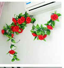 Fake Silk Rose Flower Ivy Vine Wall Hanging Wedding Party Home Floral Decor
