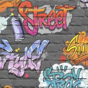 Wallpaper Muriva - Street Graffiti - Modern Urban Metallic Brick - Black L17901