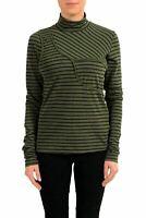 Maison Margiela MM6 Women's Green Striped Turtleneck Top US M IT 42