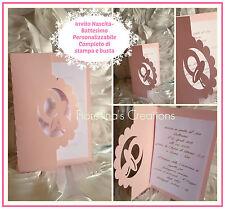 INVITO BATTESIMO- NASCITA -CIUCCIO -Personalizzabile nei colori con stampa+busta