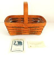 LONGABERGER 1995 Heartland Small Chore Basket #13404 Wood Handle Signed INV #4