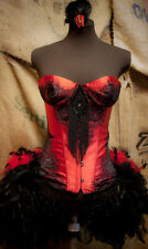 PHOENIX Burlesque Costume Red Black Steampunk dress Corset feather bustle train