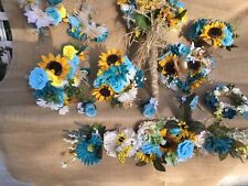 Silk Flower Wedding Bridal Bouquet Package Flowers turquoise sunflowers or u pic