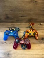 Lot Of (3) Red + Blue + Orange Mad Catz PS2 Dual Force Analog Controller Tested