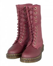 Dr Martens Hazil Tall Slouch Boots Women US 11 UK 9 Cherry Red Virginia Suede