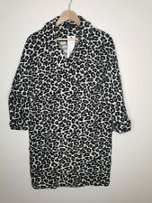 F&F ladies jacquard coat animal print quarter sleeve size 12 pockets cotton mix