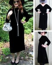 VINTAGE 1950s VELVET & RHINESTONES BOMBSHELL PIN-UP LBD WIGGLE COCKTAIL DRESS