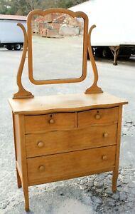 Vintage Birdseye Maple 2 over 2 Vanity Dresser