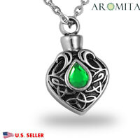 Crystal CELTIC Heart Cremation Jewelry Ashes Keepsake Memorial Urn Necklace
