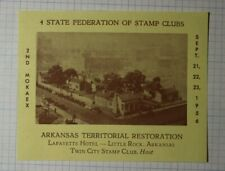 4 State Federation Stamp Clubs Arkansas Territorial Restoration Philatelic Label