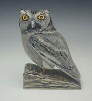 FOLK ART ARTIST SIGNED 1978 SCREECH OWL HAND CARVED WOODEN SCULPTURE