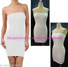 Hot Womens Club Party Casual Stretch BodyconTube Strapless Mini Dress White 2XL
