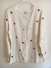 Quacker Factory Duet Cardigan Sweater White Poinsettia 1X Plus Christmas