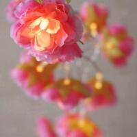 Guirlande Lumineuse à Piles 20-LED Fleur Rose Décoration Noël