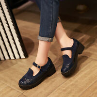 Women's Patent Leather Sweet Mary Jane Shoes Round Toe Casual Low Heels Pumps