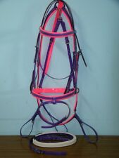 Horse Hanovarian Bridle, Reins and Breastplate Set - Purple / Hot Pink PVC