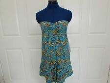 NEW w/Tag-Women's/Junior's Blue Floral O'NEILL Strapless Short Dress Sz Small