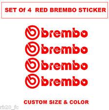 Brembo Logo Decal sticker vinyl caliper brake custom size - RED Color Set of 4