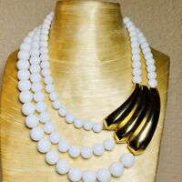 VTG Dauplaise Lucite Necklace Statement Multi Beaded Collar Gold