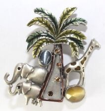 Elephant Giraffe Palm Tree Silver Tone Brooch Pin Kc Kenneth Cole Jungle Safari