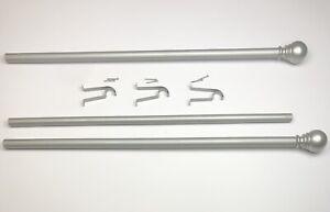 "60"" - 86"" extendable silver-tone CURTAIN ROD ball finials + hanging hardware EUC"