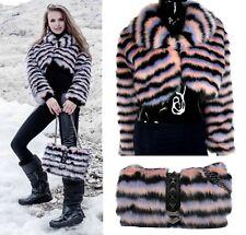 Italian Alex Max Black and Pink Faux Fur Short Jacket and Handbag - 2 items
