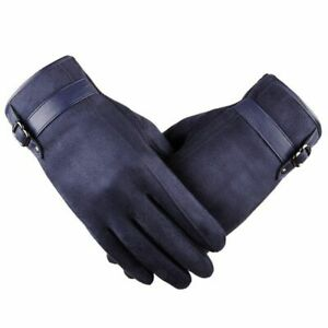 Men's Touchscreen Thick Cashmere Gloves Suede Leather Windproof Driving Mittens