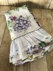 Vintage Westpoint Stevens Twin Flat Sheet FLORAL Shabby Chic Cottage RUFFLES