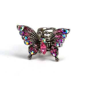 Hand Made Hair Jewelry swarovski crystal Butterfly Vintage Style Hair Jaws, Pink