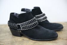 Womens SAM EDELMAN POSEY black w chain suede ankle boots size 8.5 M NEW $170