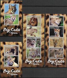 "SIERRA LEONE - 2014 MNH ""Big Cats Of AFRICA"" Four Souvenir Sheets !!"