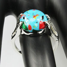 Malachite Gemstone Fashion  Jewelry 925 Silver Men Women Ring Size 10
