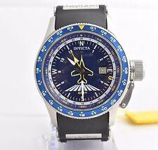 Invicta Men's 1754 Aviator Flight GMT Blue Dial Black Polyurethane Watch
